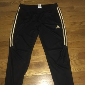 Black with Gold Adidas stripes Track Pants